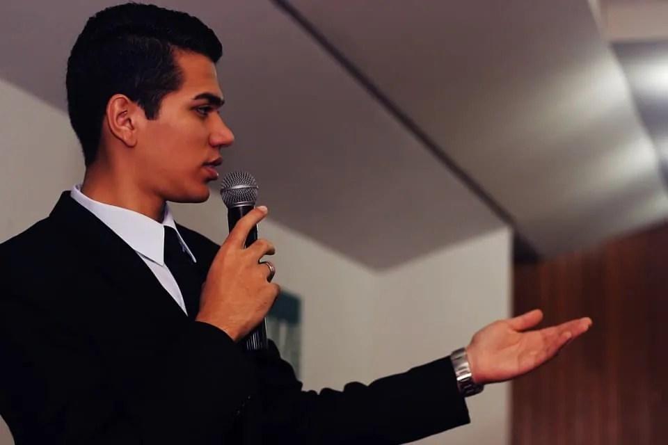 speaker, mic, man