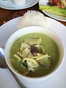 Green Curry - Eggplants, Bamboo Shoot, Basil, Long Beans w/ Chicken and Jasmine Rice