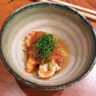 Shrimp with oysters from Hiroshima and tomato sauce
