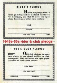 1940s-50 rider & MC pledge cards