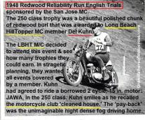 1948 c2 11-0dd Redwood Reliability Run FIELD MEET 250cc class on borrowed JAWA Czech