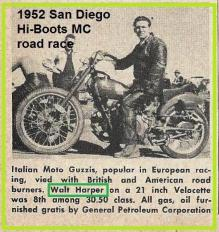 1952 4-0b2 San Diego Hi-boots MC polio benefit, road racing, Walt Harper on Velo