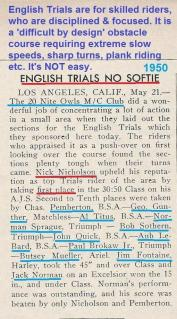 20 Nite Owls MC, English Trials, Nick Nicholson, C. Pemberton, Gunther, Titus, Sprague, Sothern, Quick, LeBard, Brokaw Jr. Mueller, Fontaine, J. Norman