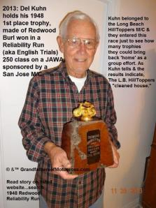1948 a3b in 2013 Del Kuhn holds Redwood Reliability Run 1st place trophy 250 class (2)