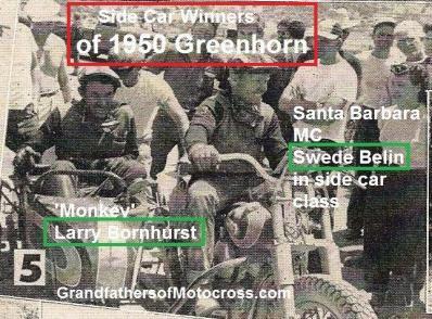 Belin, Swede a2 & Larry Bornhurst winners of side car, 1950 Greenhorn