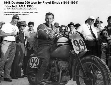 Emde, Floyd (AMA) 1948 wins 200 at Daytona, courtesy of his son, Don Emde