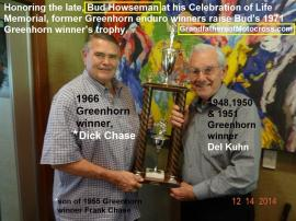 Howseman, Chuck 'Bud' a4 Greenhorn trophy with Dick Chase & Del Kuhn in 2014. ALL 3 are Greenhorn winners