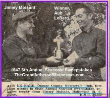 1947 4-20 a1 6th 1947 SEACOAST SWEEPSTAKES race, AUB LeBARD won, Del Kuhn 3rd