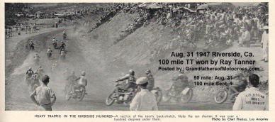 1947 9-1a11 Riverside TT Natl. Championship, fans gathers in heat to watch