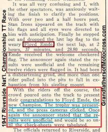 1947 9-1a8 Riverside National Championship PREMATURE announcement said Emde won