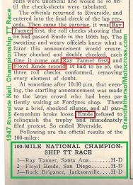 1947 9-1a9 Results for 1947 winner, Natl. Championship, not Floyd Emde but Ray Tanner