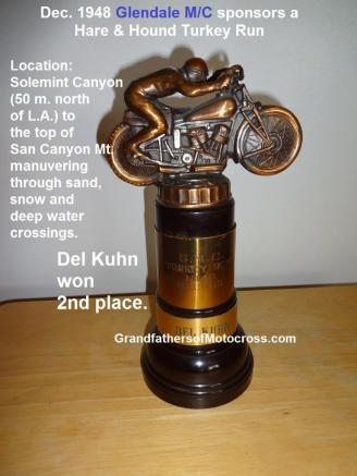 1948 12-19 a6 trophy Glendale mc TURKEY RUN, AJS Del Kuhn 2nd place