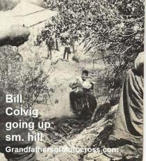 1949 3-20 a28 Bill Colvig hauling up sm. hill ENGLISH TRIALS, Royal Riders at Lakeland Park