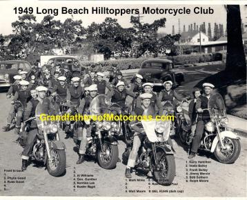 1949 -50s a4b LB Hilltoppers mc Del Kuhn way in back out for a club ride