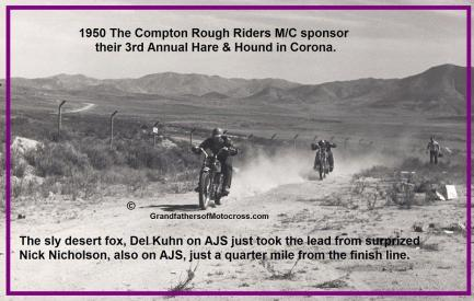 1950 3-19 b3 March Finish line Corona Race Rough Riders, won, about 80 miles