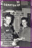 1950 3-19 c5 Compton RR MC Johnny Quick gives 1st trophy to Toni for Del Kuhn