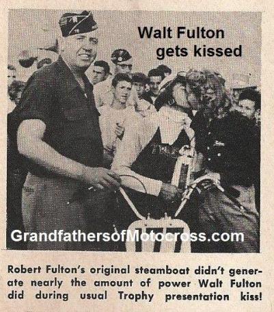 1950 4-2 a10a Box Springs TT, Walt Fulton gets kissed & trophy