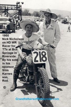 1950 4-2 a10cc Box Springs TT,Box Springs in Riverside Nick Nicholson #218 on mc & Rod, Slim Karnes's son