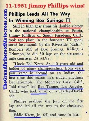 Jimmy Phillips, Riverside Bombers MC TT, Box Springs Ed. Kretz Sr., Ray Tanner, Ed Kretz Jr