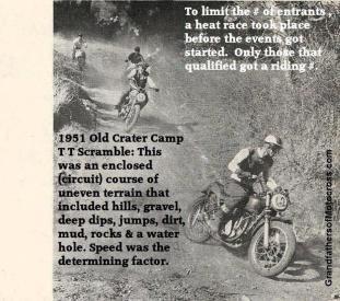 1951 6-0 cc13 Old Crater Camp TT Scramble described & heat race