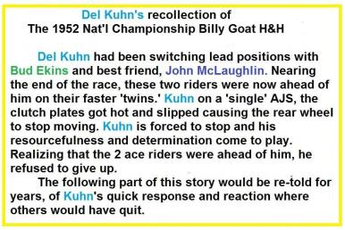 1952 12-7 c6c Del Kuhn's recollection of this 1952 Nat'l H&H race