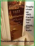 1953 2-1L Riverside Bombers MC Cactus Hare Chase trophy 1st place Del Kuhn wins