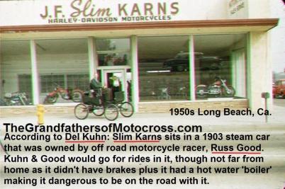 1953 2-1h4 Slim Karns in old car belonged to russ good, 1903 steam car, Del got ride in it