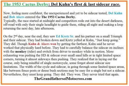 1953 2s 1st Place SIDE CAR Del Kuhn, Riverside Bombers MC trophy