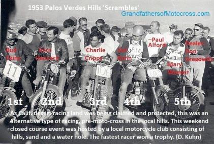1953 4-0 s7 Palos Verdes Scrambles, Bud Ekins 1st, Vern Hancock 2nd, Charlie Cripps 3rd, Del 4th & Marv Weaver 5th