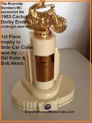 1953 4s 1st Place SIDE CAR Del Kuhn, Riverside Bombers MC trophy