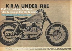 1953 5-0k4 HD motorcycle, HD KRM known as K model under fire article