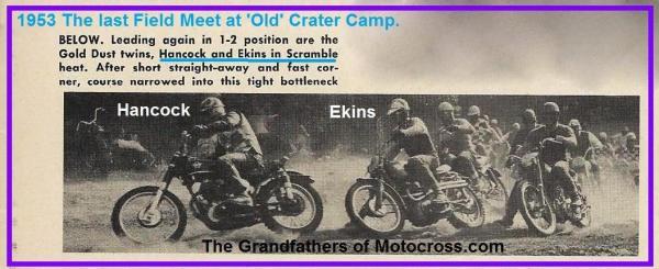 1953 6-0cy 2L V. Hancock & B. Ekins in Scramble event, last Field Meet Old Crater Camp
