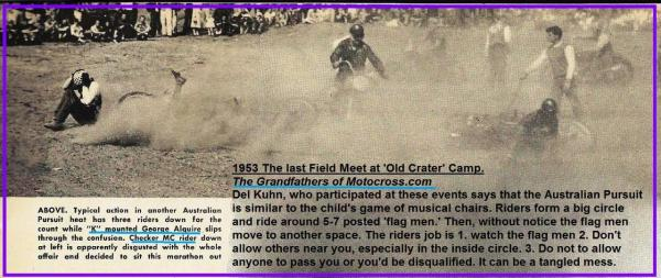 1953 6-0cy 2f G. Alguirre & Checker MC, last Field Meet Old Crater Camp