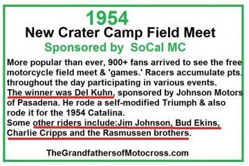 Crater Camp, Del Kuhn, Triumph, Jim Johnson, Bud Ekins, Charlie Cripps, Rasmussen, Del Kuhn, Charlie Cripps, Bud Ekins, Jim Johnson SoCal MC