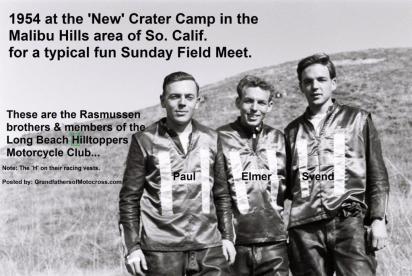 1954 2-0b Rasmussen brothers, Paul (d.), Elmer, Svend at new Crater Camp FIELD MEET at Scrambles