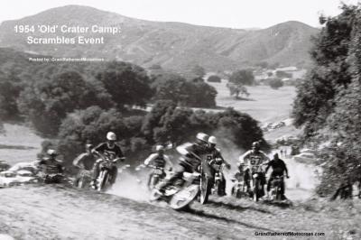 1954 2-0p4 Riders take off at new Crater Camp at Scrambles