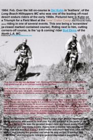 1954 2-0p9 birth of Moto-cross Del #21 Triumph & Bud Ekins at new Crater Camp at Scrambles