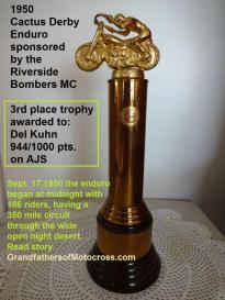 1992 4-25 a24 Riverside Bombers Dinner, 1950 CACTUS DERBY, Del Kuhn Trophy 3rd