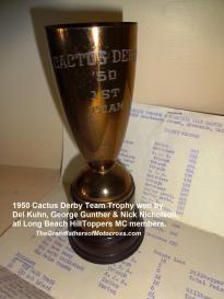 1992 4-25 a25 Bombers Dinner, CACTUS DERBY 1950 team trophy, Kuhn, Nicholson, Gunther
