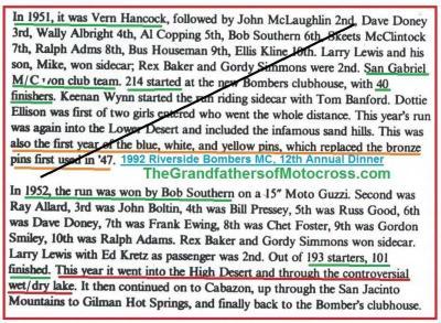 1992 4-25 a28 Bombers Dinner, Theme, 1952 CACTUS DERBY, won by Bob Sothern, R. Allard, John Bolotin, Pressy, R. Good, D. Doney, F. Ewing, C. Foster, G.