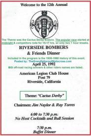 1992 4-25 a4 Riverside Bombers Dinner, Theme, CACTUS DERBY program