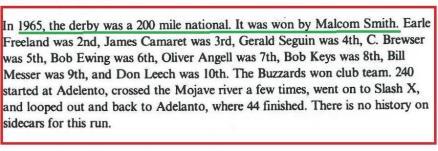 1992 4-25 a52 1965 Cactus Derby, no nite race, Malcom Smith won E. Freeland, J. Cararet, G. Seguin, C. Brewser, B. Ewing, O. Angell,