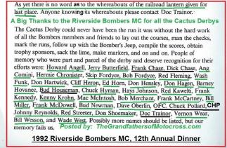 1992 4-25 a58 Thanks to all members, Riverside Bombers Dinner, Theme, CACTUS DERBY