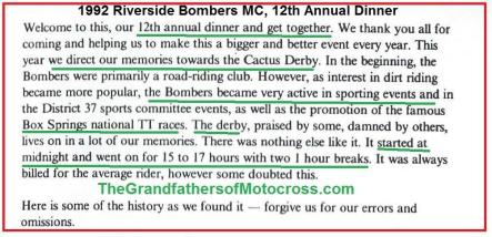 1992 4-25 a6 Riverside Bombers, CACTUS DERBY history