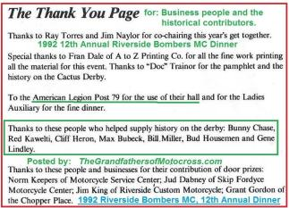 1992 4-25 a61 Thanks from Riverside Bombers Dinner, Theme,