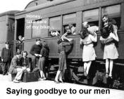 1992 4-25 a9 Bombers Dinner, Theme, ww2 men saying bye to girlfriends at train