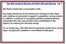 AMA 1953 4-0z12 Del Kuhn opinions re off road events decline & biker image