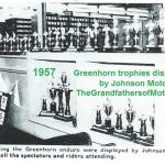 1957 0-1 Johnson Motors displays Greenhorn trophies