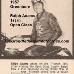 1957 6-1a9 Greenhorn, Ralph Adams wins 1st Open class, same as 2nd