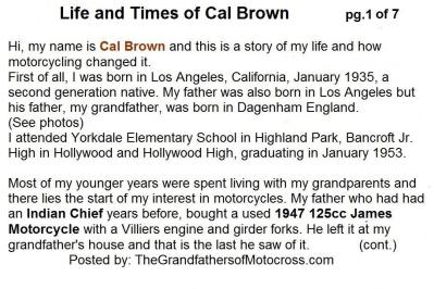 2015 5-0 pg 1a Life & Times, Cal Brown BIO. INDIAN CHIEF & JAMES CYCLE
